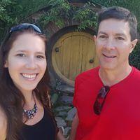 Kati and Brian in Hobbiton, NZ